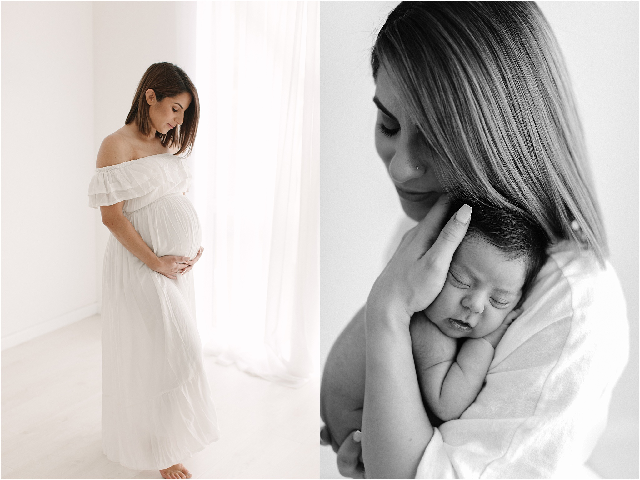 maternity image of a mother in a long white dress