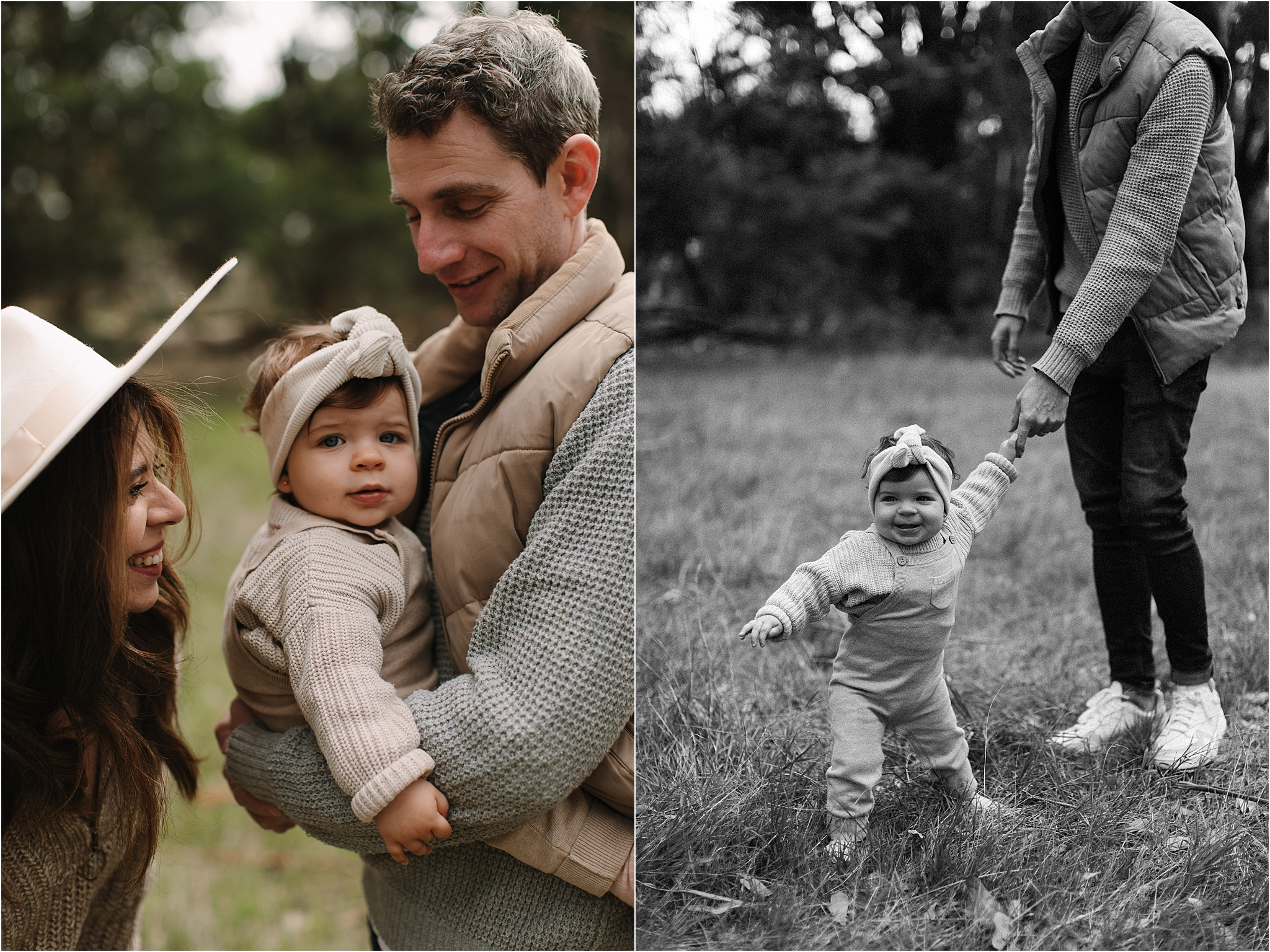 A cute toddler in Dads arms