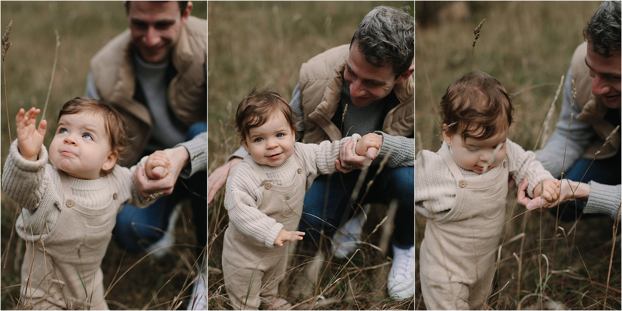 A toddler playing with Daddy in long grass